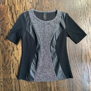 Ann Taylor Mixed Media Top w/ Faux Leather